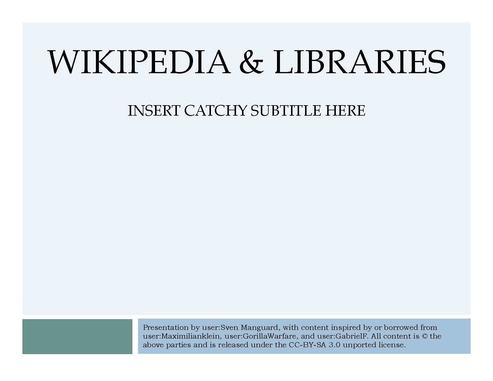 Wikipedia & Libraries