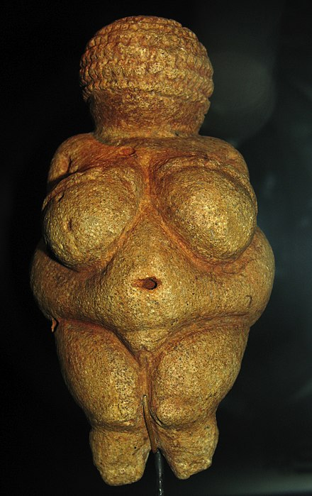 The 27,000-to-30,000-year-old Venus of Willendorf may depict a woman wearing a woven hat. Willendorf-Venus-1468.jpg