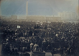 Social movement - The Great Chartist Meeting on Kennington Common, London in 1848.