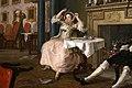 William hogarth, marriage a-la-mode, 1743 ca., 02 il tete-à-tete 4.jpg