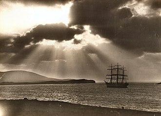 Shetland - Full-rigged ship Maella, of Oslo, in Bressay Sound, around 1922