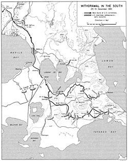 Map of Southern Luzon depicting United States Army Forces in the Far East movements in December 1941