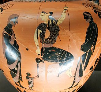 Swing (seat) - Woman on a swing. Side B of an Ancient Greek Attic red-figure amphora, ca. 525 BC. from Vulci, Italy. Louvre Museum, Paris.