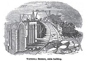 Victoria Viaduct - Image: Woodcut of construction of the Victoria bridge