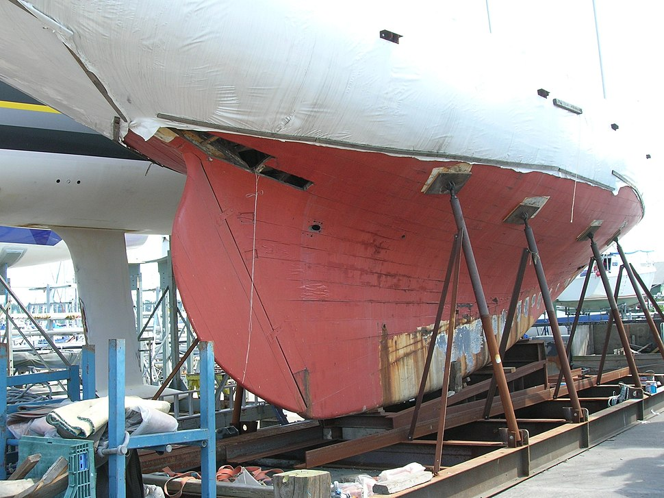 Wooden hull being repaired