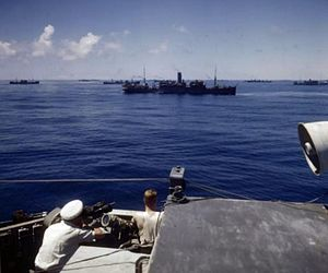 World War II convoy underway in warm climate