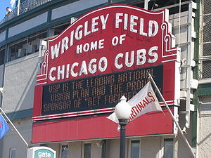 Closeup of the red sign that adorns Wrigley Fi...