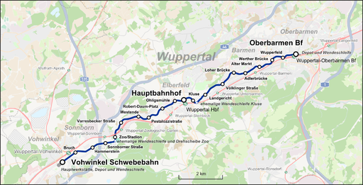 Wuppertaler Schwebebahn Karte