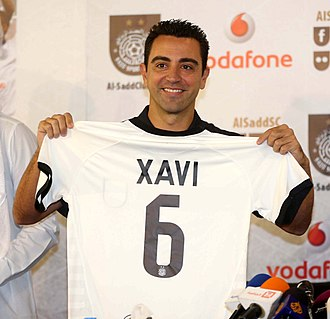 Xavi - Xavi being presented as a new Al Sadd player.