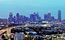 Dallas skyline at night from the Stemmons Corridor