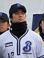 Yataro Sakamoto, pitcher of the Yokohama BayStars, at Yokohama Stadium.JPG