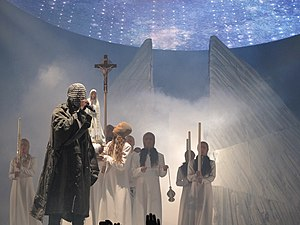 Yeezus - West performing in 2013 as part of the Yeezus Tour