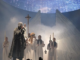 "Art pop - West's Yeezus Tour was described by Forbes as ""the current mass cultural phenomenon best described as 'artpop.'"""