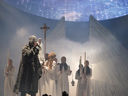 West performing on the Yeezus Tour in 2013. Yeezus tour.jpg