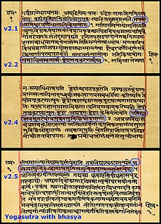 <i>Yoga Sutras of Patanjali</i> foundational text of Yoga in Sanskrit from ancient India