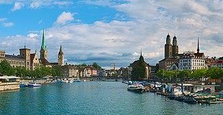 The Limmat after leaving Lake Zurich below the Quaibrücke in Zurich