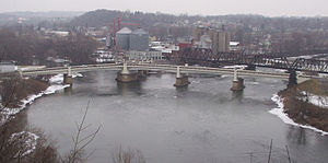 Zanesville, Ohio - The Zanesville Y-Bridge, seen from a high bluff south of the river confluence.