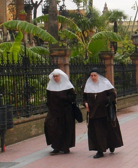 A novice is at the left. The habit of a novice often differs from that of the full professed sisters. Zusters in Sevilla.JPG