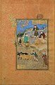 """""""Shaikh Mahneh and the Villager"""", Folio 49r from a Mantiq al-tair (Language of the Birds) MET DT11962.jpg"""