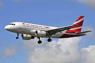 Air Mauritius - Air Mauritius Airbus A319 landing at Sir Seewoosagur Ramgoolam International Airport (June 2011)
