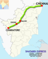 (Chennai - Coimbatore) Shatabdi Express route map.png