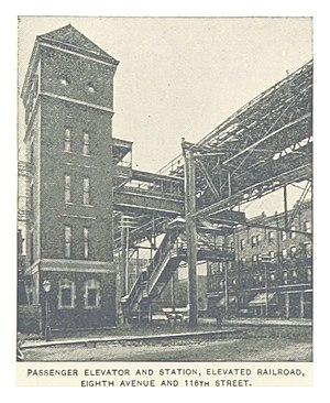 (King1893NYC) pg144 PASSENGER ELEVATOR AND STATION,ELEVATED RAILROAD, EIGHTH AVENUE AND 118TH STREET.jpg