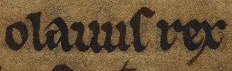 Óláfr Guðrøðarson (died 1153) - Image: Óláfr Guðrøðarson (British Library Cotton MS Julius A VII, folio 35v)