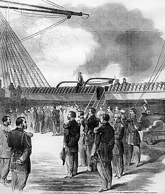 Russian frigate Alexander Nevsky - The American public visits the frigate Alexander Nevsky on arrival at Emigres. Illustration from Harpers Weekly for October 17, 1863