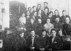 Oleg Losev - Employees of the Central Radio Laboratory, Leningrad, 1930.  Losev is in fourth row, third from left.