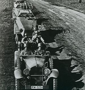 Heinz Guderian - German motorized forces on maneuvers, Germany, 1935