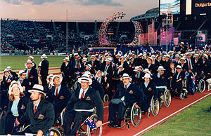 Australia at the 1996 Summer Paralympics - Australian athletes during the parade of athletes at opening ceremony of the 1996 Atlanta Paralympic Games