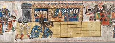 Catherine watching Henry jousting in her honour after giving birth to a son. Henry's horse mantle is emblazoned with Catherine's initial letter, 'K.' 10. Westminster Roll selected scenes 260814 005 A5.jpg