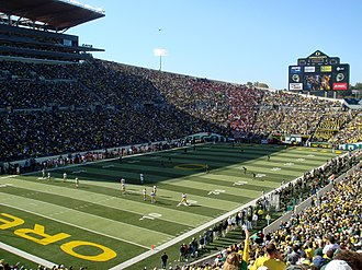 Autzen Stadium - A view of the field during the 2007 USC game. The new press box on the south side, built in 2002, is visible to the left