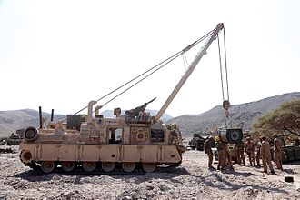 Armoured recovery vehicle - A US Marine Corps M88A2 Hercules in 2014. The M88A2 is lifting an M1 Abrams engine using the M88A2's crane.