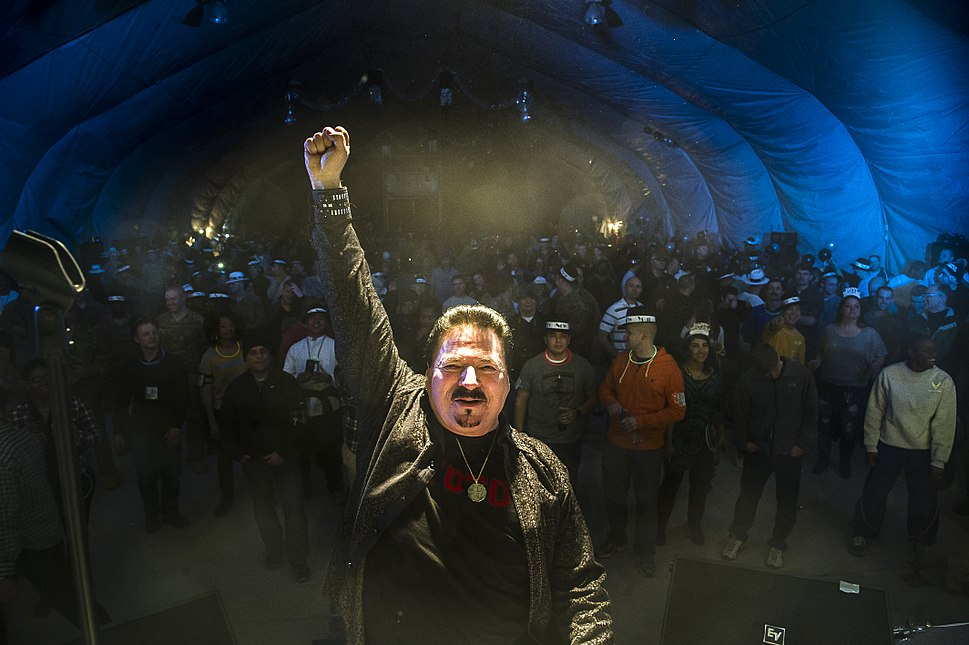 131231-F-VU439-1007 Bobby Kimball, TOTO frontman, at Transit Center at Manas, Kyrgyzstan, Dec. 31, 2013