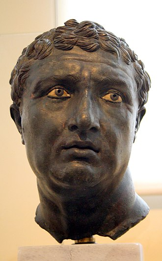 Hellenistic art - Bronze portrait of an unknown sitter, with inlaid eyes, Hellenistic period, 1st century BC, found in Lake Palestra of the Island of Delos.