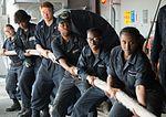 170512-N-WS952-169 - U.S. Navy sailors heave mooring line aboard USS Ronald Reagan.jpg