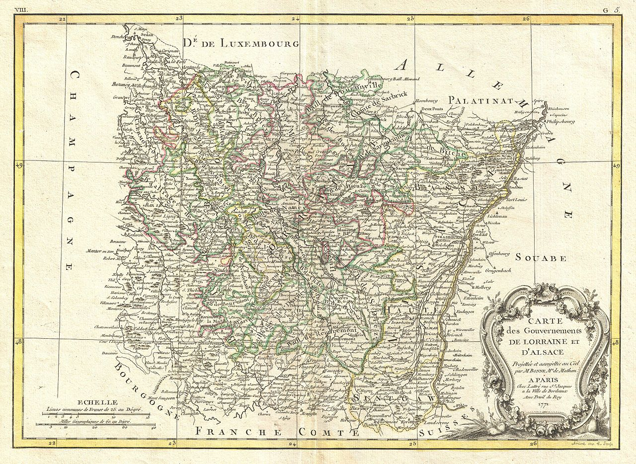 File 1771 Bonne Map Of Alsace And Lorraine France