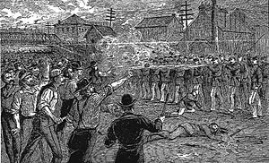 Chicago railroad strike of 1877 - Battle at the Halstead Street viaduct