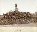 1892 Bicyclists pose near Frank Blair statue, Forest Park, St Louis. MoHIST PHO 10223.jpg