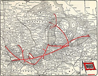 Wabash Cannonball Trail - Wabash Railroad map, showing North and South Forks of the trail in Ohio.