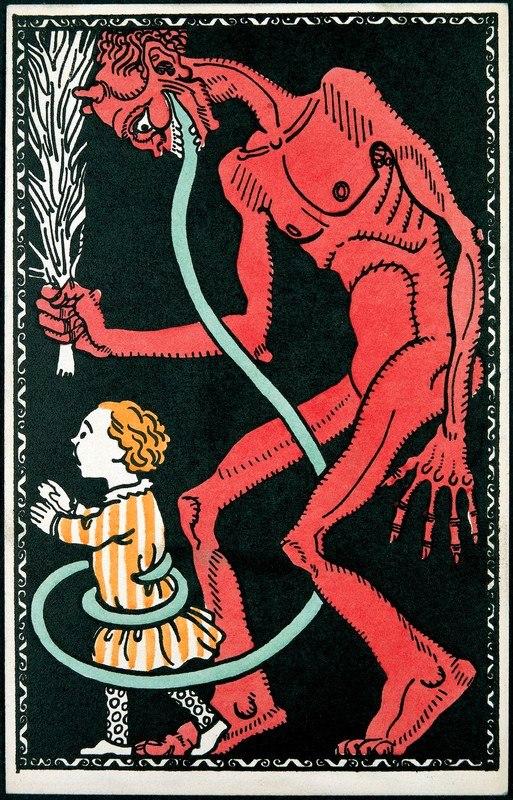 1911 circa anonymer K%C3%BCnstler Wiener Werkst%C3%A4tte Postkarte No. 542, Krampus mit Kind