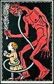 1911 circa anonymer Künstler Wiener Werkstätte Postkarte No. 542, Krampus mit Kind.jpg