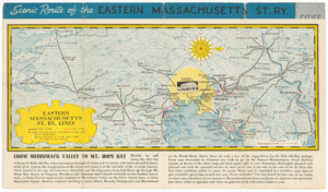 Eastern Massachusetts Street Railway - 1930s map of Eastern Mass streetcar and bus lines