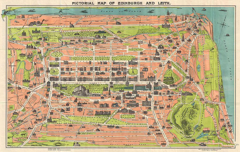 Carte d'Edimbourg avec les monuments et constructions remarquables en 1934.