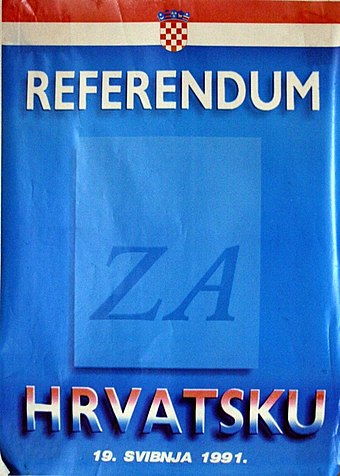 Poster for the 1991 Croatian independence referendum 1991 Croatian independence referenum government issued poster.jpg