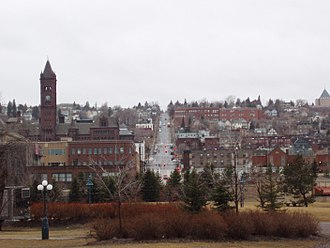 Downtown Duluth - 1st Avenue East rises 520-feet in a one-mile climb up the hillside