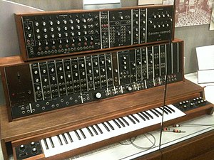Moog modular synthesizer - Image: 1st commercial Moog synthesizer (1964, commissioned by the Alwin Nikolai Dance Theater of NY) @ Stearns Collection (Stearns 2035), University of Michigan