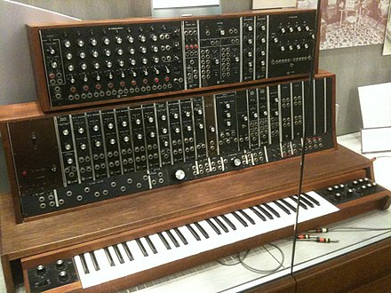 1st commercially sold Moog synthesizer prototype in 1964, commissioned by the Alwin Nikolais Dance Theater of NY 1st commercial Moog synthesizer (1964, commissioned by the Alwin Nikolai Dance Theater of NY) @ Stearns Collection (Stearns 2035), University of Michigan.jpg