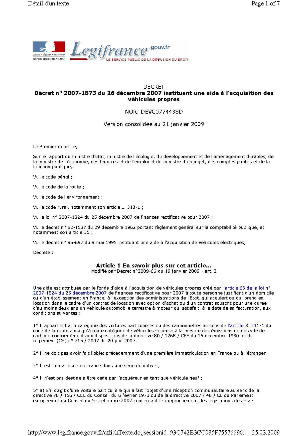 file20071226 dcret n 2007 1873 du 26 dcembre 2007 instituant une aide lacquisition des vhicules propres 20090325pdf